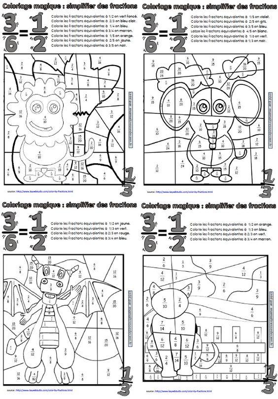 Coloriages magiques de fractions ma maitresse de cm1 cm2 sons chang 39 e 3 and math - Coloriage de maitresse ...