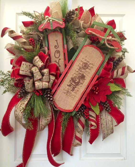 Country christmas wreath mesh wreath burlap by Christmas wreath making