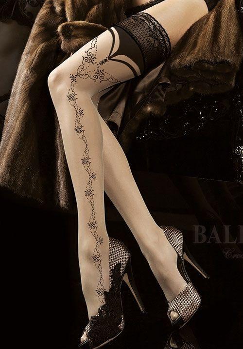 Beige hold-ups with black pattern Ballerina 174 - SOYELLE.PL-