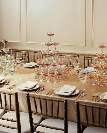 Indulgent Champagne towers double as centerpieces