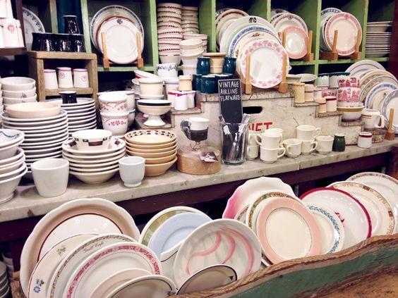 Vintage tableware shop in NYC