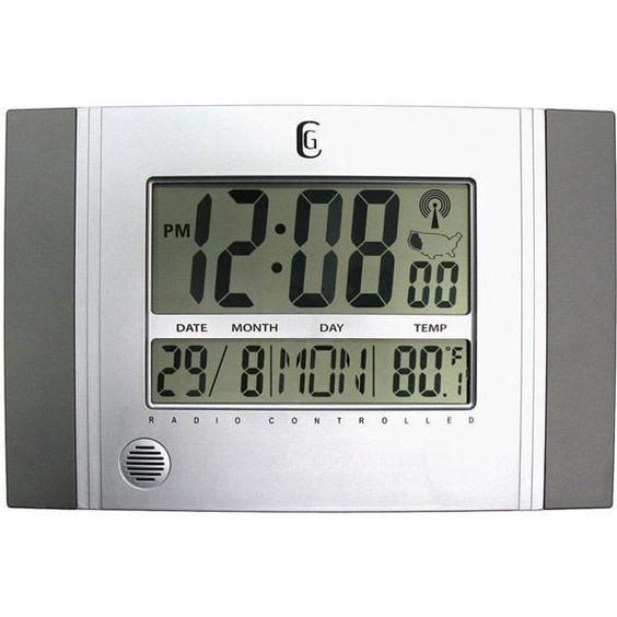 Geneva Atomic DST Wall Clock Calendar Temperature Silver New Free US Shipping