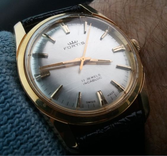 Fortis swiss watch 17 Jewels manual winding gold plated 20 microns silk dial