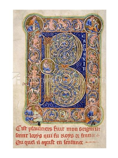 Illuminated Manuscript, Psalter. Inhabited Initial B of Psalm 1
