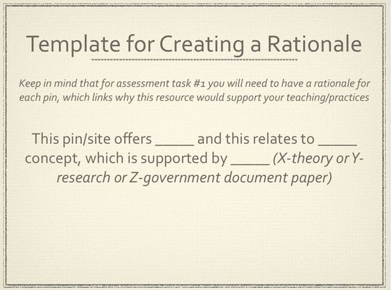 template for creating a rationale which is needed for using pinterest