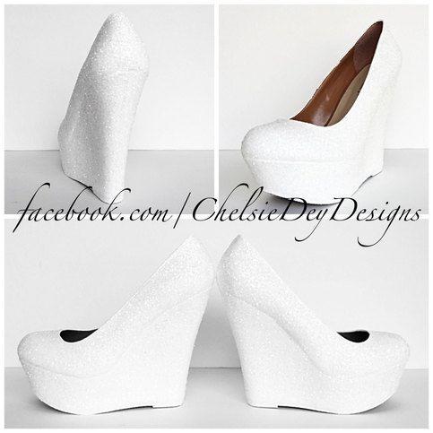 White Glitter Wedge Shoes   Wedge