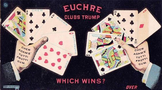 VICTORIAN TRADE CARD - ADAMS CHEWING GUM - PLAYING CARDS