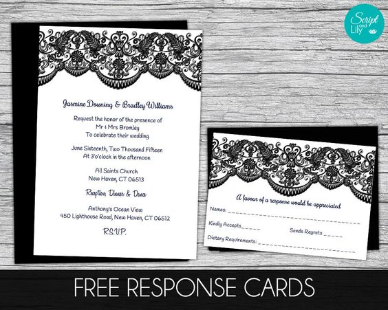 Lace Invitation Template FREE Response Card Birthday Wedding - pages invitation templates free