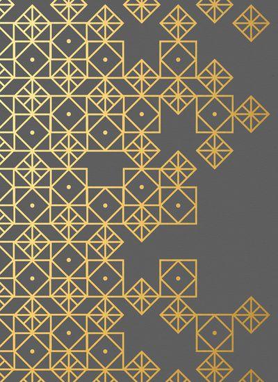 Geometric Gold Art Print - idea for a feature wall