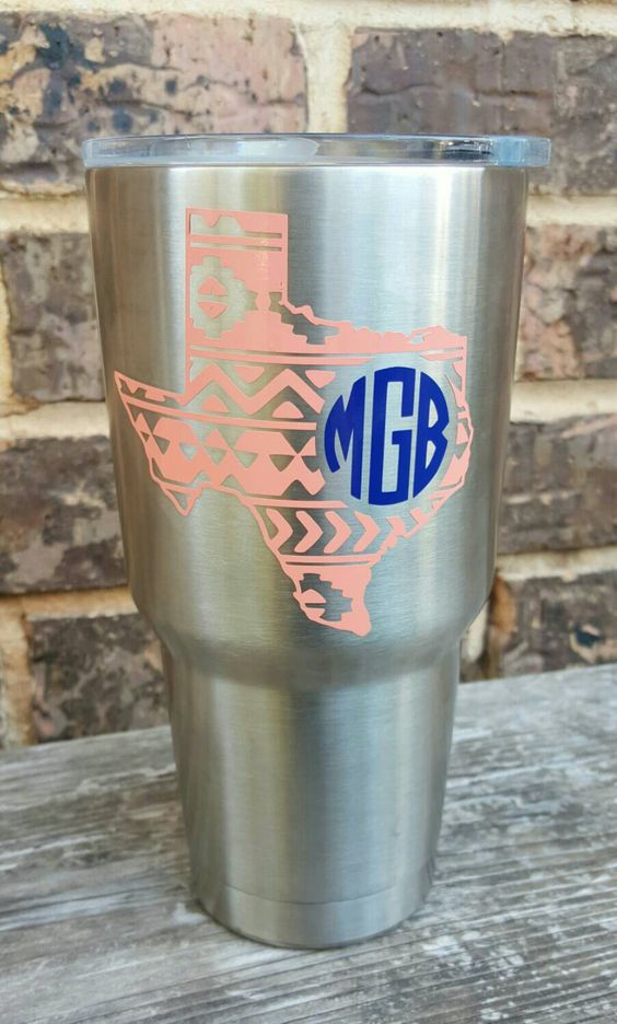 Aztec and monogram Yeti decal, state in aztec pattern, monogram personalized for Yeti rambler, mug, cup by RaeBirdCreations on Etsy (null):
