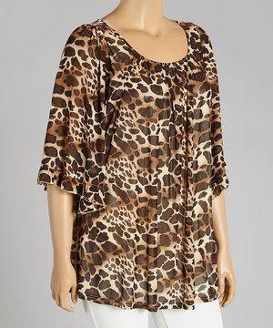 This Lady Noiz Brown Leopard Tunic - Plus by Lady Noiz is perfect! #zulilyfinds