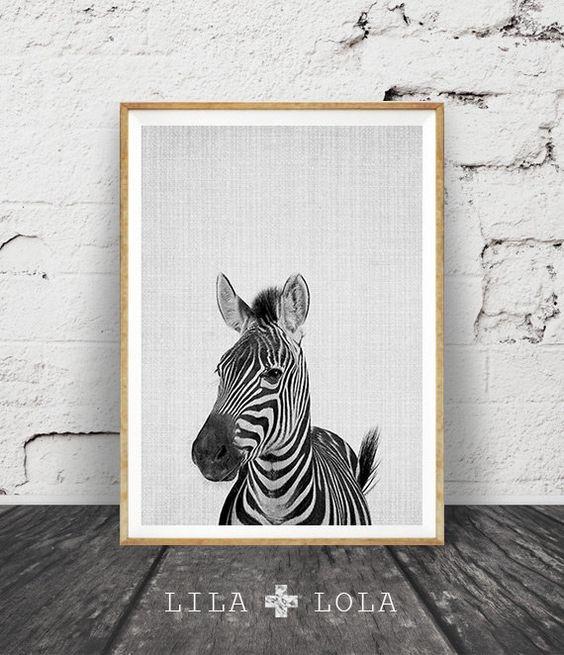 Zèbre, Animal pépinière Wall Art, mignon drôle zèbre, noir et blanc Decor, Safari Afrique Animal Print, pépinière pépinière affiche imprimable
