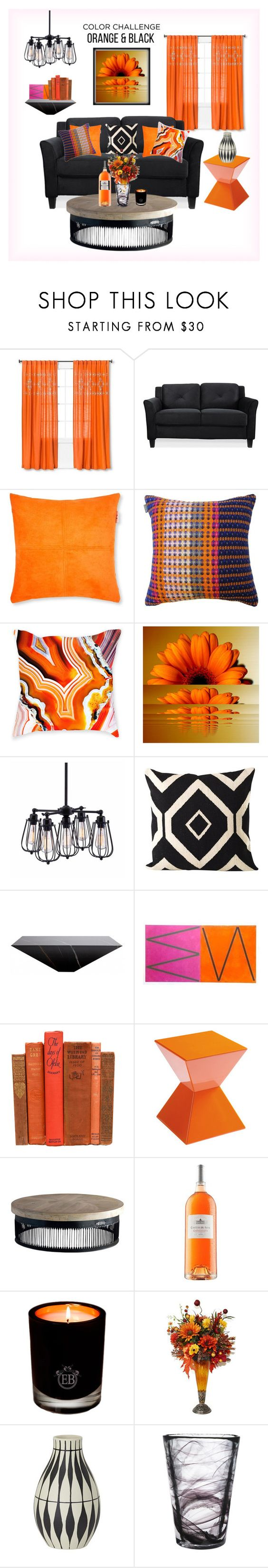 """""""Home Decor - Orange & Black"""" by fashnbug ❤ liked on Polyvore featuring interior, interiors, interior design, home, home decor, interior decorating, Threshold, Madura, Claire Gaudion and Zuo"""
