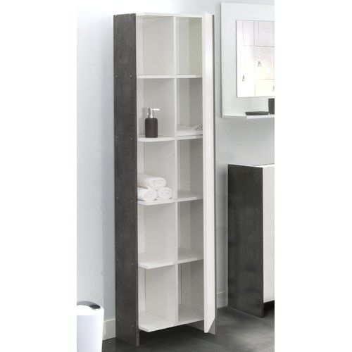 Biarritz 50 X 180cm Free Standing Tall Bathroom Cabinet Castleton Home Finish White Concrete Bathroom Tall Cabinet Bathroom Cabinets Tall Cabinet Storage