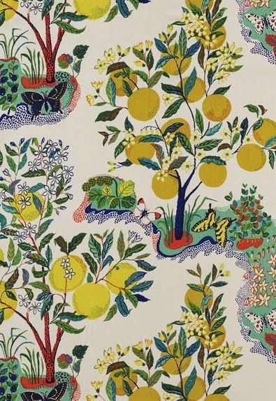 Citrus Garden I An archival print designed for Schumacher I 1947 I Josef Frank: