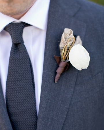 Unique boutonniere idea: use burlap! Made by @Amanda Durham