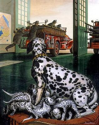b y  Steven Dohanos,  Firehouse (Dalmatian with Pups), 1945