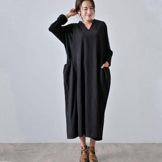 Autumn Long Sleeve Knit Stitching Cotton Linen Black Dress