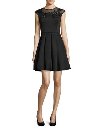 Dollii+Embroidered+Skater+Dress,+Black++by+Ted+Baker+London+at+Neiman+Marcus.