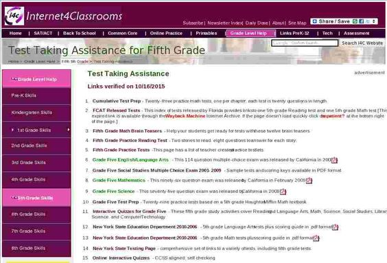 Fifth 5th Grade Test Taking Assistance at Internet 4 Classrooms