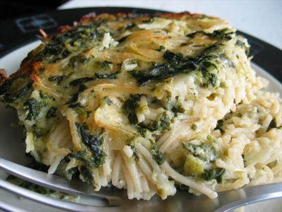 spinach and spaghetti casserole--
