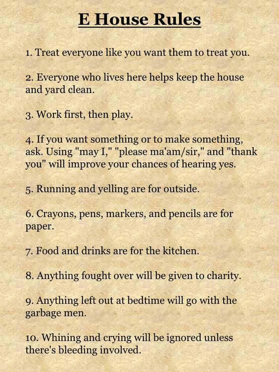 House Rules For Adults Living Together Google Search