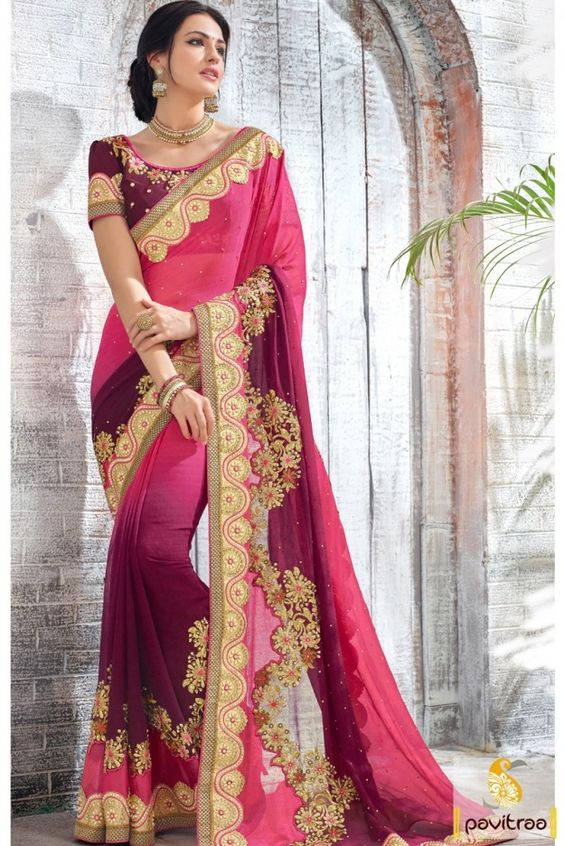 Vibrant unbeatable fashion designer magenta color art silk bridal saree designs with price. Most alluring fashionable new pattern bridal saree bejeweled with heavy embroidery and stone work. #saree, #designersaree more: http://www.pavitraa.in/store/designer-collection/