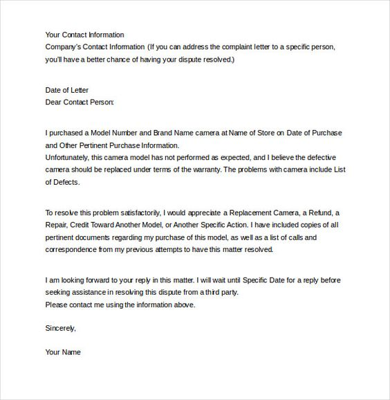 letter complaint templates free sample example format welcome - ngo bylaws template