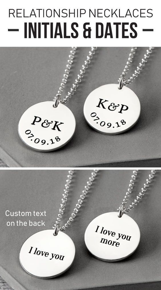 Initials And Date Necklaces Boyfriend And Girlfriend Necklaces Boyfriend Boy Couple Gifts Boyfriend Girlfriend Necklaces Girlfriend Anniversary Gifts