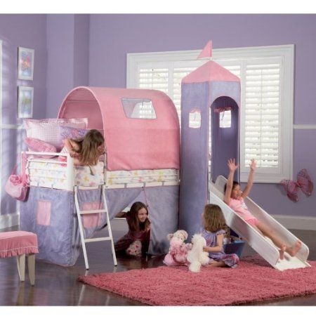 Girls Tent #Twin Size Loft #Bunk #Bed in Light Pink & White Finish ...
