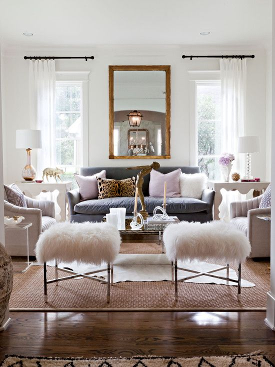 Extraordinary Fur Area Rug At Home: Glamorous Contemporary Living