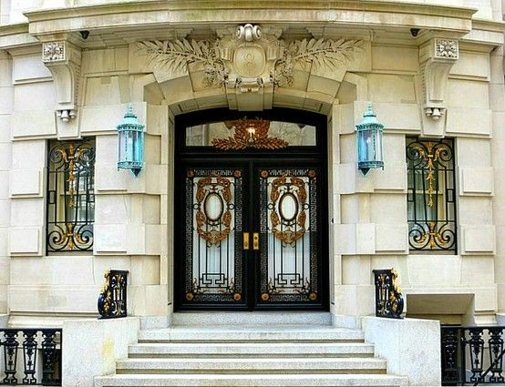 The Duncan Mansion, 8 East 62nd Streeet, New York City.    Entrance to six-story Beaux Arts limestone town house designed and built for a client  by John H. Duncan, who designed Grant's Tomb. The 14,000-square-foot mansion last sold for thirty-five million dollars in 2007. March 22, 2013.