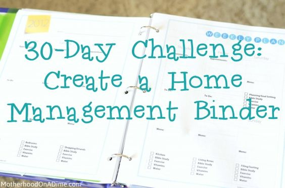 30-Day Challenge:  Create a Home Management Binder (Free Printables):