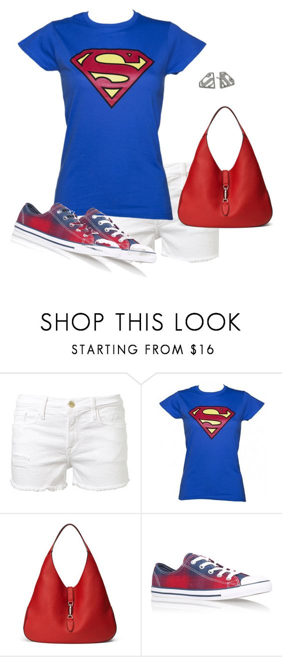 """""""It's a Bird!"""" by toots2271 ❤ liked on Polyvore featuring Frame Denim, Gucci, Converse and Noir"""