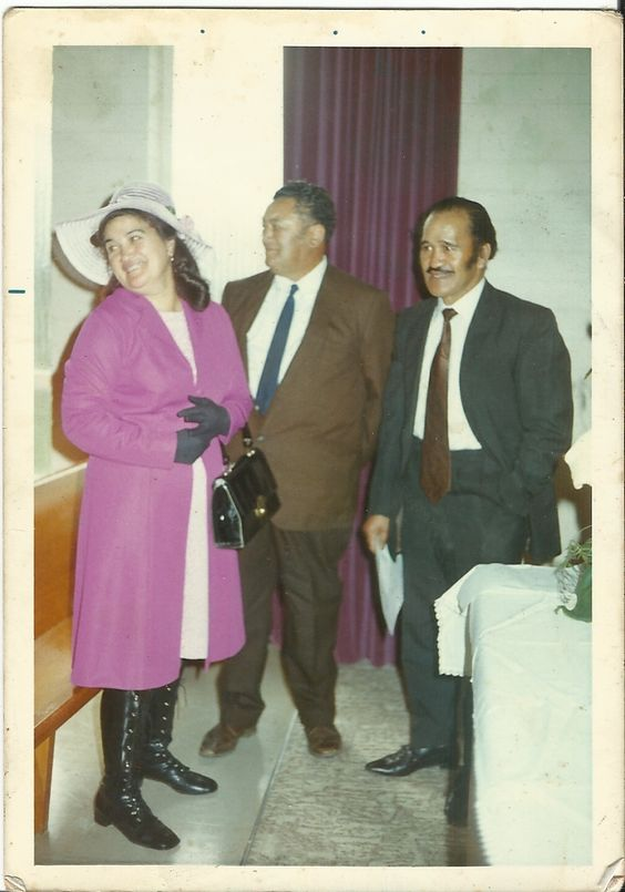 Wedding Days 1970-Mum and Dad at my wedding at the Kaikohe Chapel in August with Hone Pereki Sadler, my father in-law.