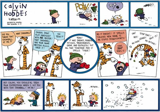 calvin and hobbes snow pow did you throw that snowball
