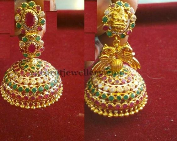 Jewellery designs jhumkas in colorful stones traditional gold