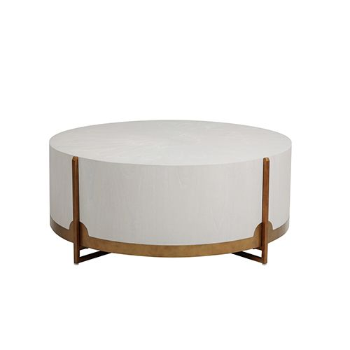 Gabby Home Sch 163255 Clifton Coffee Table In White Cerused Oak Brass Contemporary Modern Bellacor Brass Coffee Table Drum Coffee Table Coffee Table Wayfair