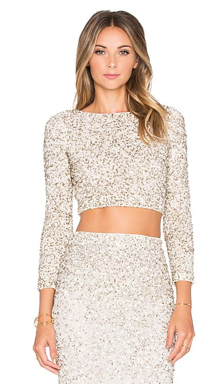Alice + Olivia Lacey Crop Top in Cream