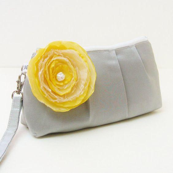 Wedding Clutch Purse Rectangular Wristlet  Silver by LMcreation, $39.00