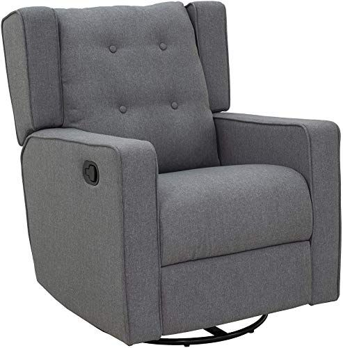 Amazing Offer On Homcom Linen Fabric Swivel Gliding Recliner Sofa Chair Grey Online Upholstered Rocking Chairs Reclining Sofa Upholstered Sofa
