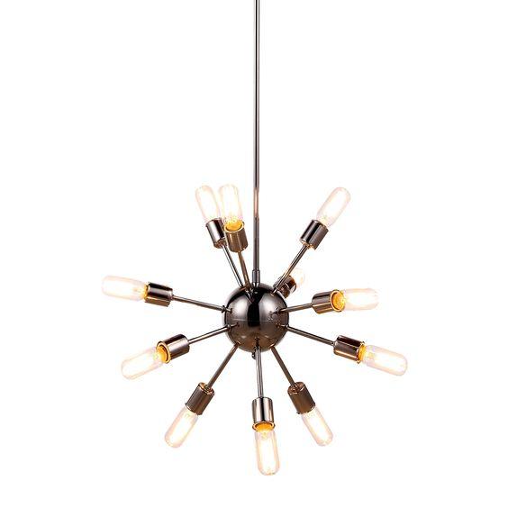 Elegant Lighting Cork Collection 1134 Pendant Lamp with Polished Nickel Finish