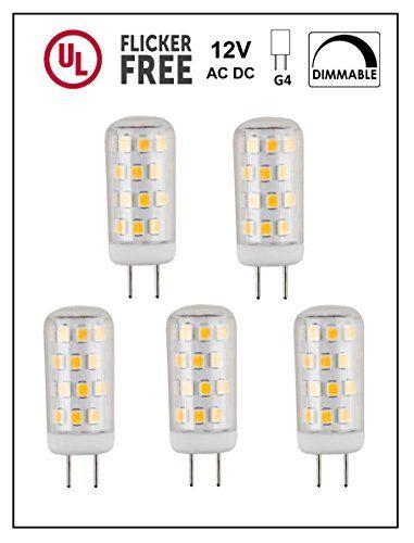 Cbconcept Ul Listed G4 Led Light Bulb 5 Pack 3 Watt Dimmable 330 Lumen Pure White 6000k 360 Beam Angle 12 Volt 35w E Led Light Bulb G4 Led Light Bulb