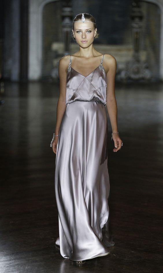 The decadent 'Gable' wedding dress by Johanna Johnson.  Love this silvery lilac silk