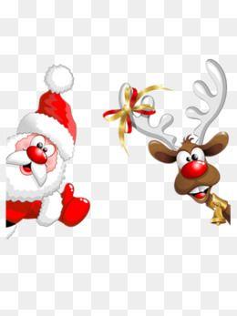 Santa And Elk Christmas Christmas Eve Merry Christmas Png