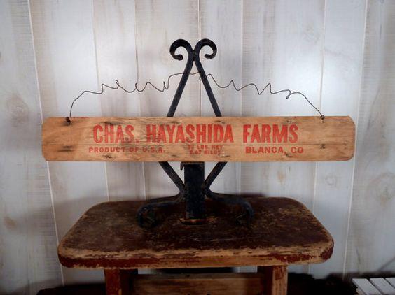 Primitive Sign Wood Vintage Bushel Basket by Vikkisvintageworks
