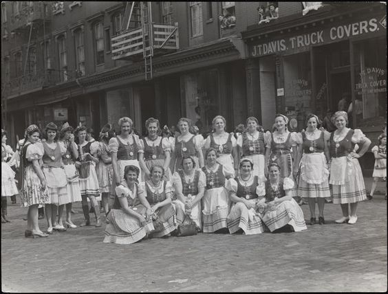 John Albok (1894-1982)  Hungarian women in native costume, Grand Street, Victory marches. MCNY Collections Portal