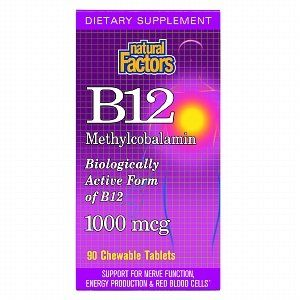 Natural Factors Methylcobalamin B12, 1000mcg, Chewable Tablets 90 ea by AB. $18.98. Natural Factors Methylcobalamin B12, 1000mcg, Chewable Tablets 90 ea. Dietary Supplement  Biologically Active Form of B12  Support for Nerve Function, Energy Production & Red Blood Cells*  Natural Factors Methylcobalamin B12 is active immediately upon absorption, while other forms (e.g. cyanocobalamin) must be converted to methylcobalamin demonstrates in a two-step process. Methylcobala...