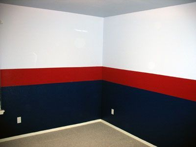 Planning on doing the boys room like this but with a dark blue on bottom medium blue on top and a light blue for the stripe. Any ideas welcome or thoughts.