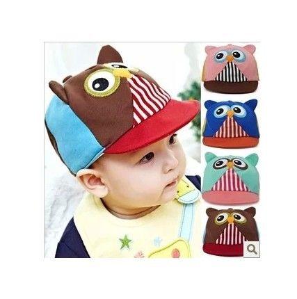 Yeni 2014 Bahar Çocuklar Sevimli Baykuş Karikatür Şapka Pamuk'un Strapbacks Beyzbol Bebek Boys & Girls 4 Renk Kapakları for